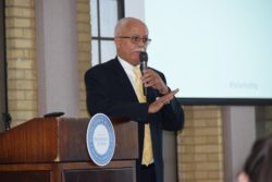 Wayne County Executive Warren Evans speaks at Wednesday's event in Trenton.
