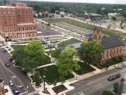 A birds-eye view of the recently expanded and revitalized Blackman park in downtown Jackson.