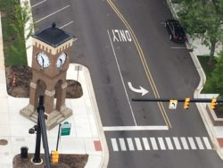 Clock tower in downtown Jackson's revitalized street-scape.