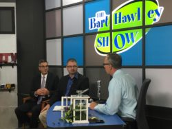 Anthony Minghine (left) and Dan Greer (center) talk about municipal finance with Bert Hawley on the Bert Hawley show on JTV in Jackson.