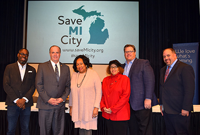 Thank to our Save Michigan City panelists - Stephen Henderson of the Detroit Free Press, Congressman Dan Kildee, Pontiac Mayor Deirdre Waterman, Ypsilanti Mayor Pro Tem Lois Allen-Richardson, the League's Dan Gilmartin and Michigan Senate Minority Leader Jim Ananich.